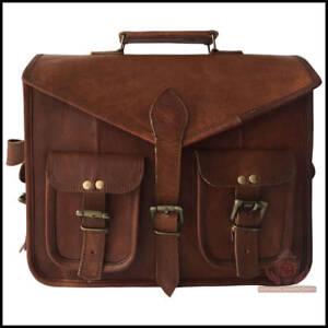 Men's Real Vintage Leather Retro Messenger Business Laptop Briefcase Satchel Bag