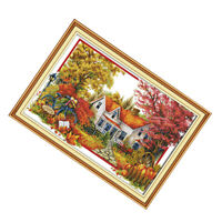 Stamped Cross Stitch Kits Embridery Kits - Autumn Landscape 11CT, 34x 24in