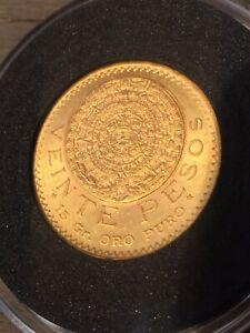 1921 Gold 20 Pesos Mexico Veinte Pesos Aztec Calendar Coin 15 Gr Oro Puro