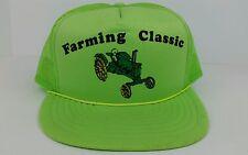 Vtg Farming Classic Antique John Deere Tractor Neon Green One Size Trucker Hat