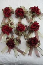 Lot 8 HANDMADE Christmas Holiday Wreath Bows, Burgundy & Gold Wired Edge & ROSES
