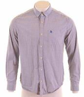 PENGUIN Mens Shirt XL Blue Check Cotton Slim Fit  BO17