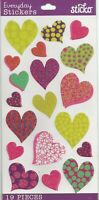 19 HEART PATTERN SCRAPBOOK CRAFT STICKERS 4 SHEET HEARTS STICKER PRICE FREE S/H!