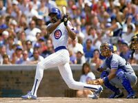 MLB Chicago Cubs HOF Andre Dawson at Bat  Game Action 8 X 10 Color Photo  Pic