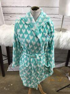 PB Pottery Barn Teen Hooded bath robe one size, green hearts