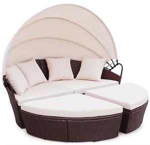 BALI Rattan Outdoor Garden Day Bed Patio Sun Lounge in Mixed Grey, Black, Brown