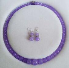 "6-14mm Genuine Alexandrite Gemstones Round Necklace Earrings Set 18"""
