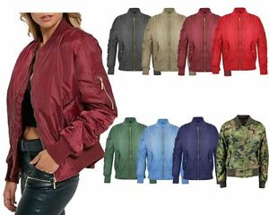 New Women Ladies Ma1 Bomber Jacket Vintage Summer Coat Flight Army Biker Retro