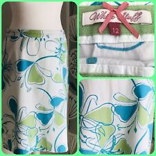 White Stuff Printed Cotton A Line Skirt Size 10 Blue Floral Print Vintage