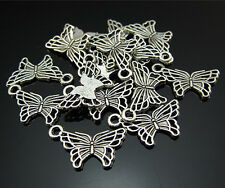 Lots Wholesal Lots Beautiful Butterfly Tibetan silver Finding Pendant Beads 18mm