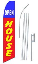 Complete 15' Open House Kit Swooper Feather Flutter Banner Sign Flag