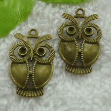 Free Ship 100 pieces bronze plated owl pendant 34x21mm #1318