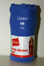 Womens XL Long Sleeve BLUE Hanes Tshirt 16-18