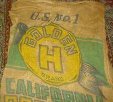 "Vtg Gunny Sack US No 1 California GOLDEN H 100 lb Potato Burlap Bag 34"" x 21"""