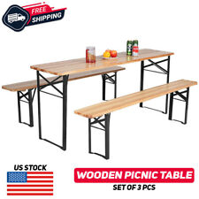 3Pcs Wooden Beer Table Bench Set Patio Picnic Folding Table Chair Garden Yard
