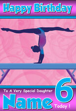 GYMNASTICS Personalised Birthday Card!! ANY NAME / AGE / RELATION - GREAT!! (2)
