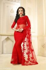 Red Net embroidery with Beadwork Indian Saree Bollywood Work Ethnic Designer
