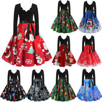 Women Long Sleeve Christmas Musical Notes Print Vintage Flare X'mas Party Dress