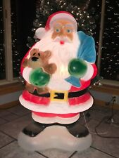 """Vintage Christmas 40"""" Santa with Bear and Bag Of Presents Lighted Blow Mold"""