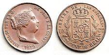 Isabel II. 25 centimos de real. 1859. Segovia. SC/UNC. Cobre 9,1 g. Rara asi