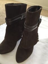 Saks Fifth Avenue Brown Seth Suede Wedge Ankle Boots  Sz 36