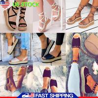 Womens Ladies Stud Flatform Sandals Summer Open Toe Wedge Espadrilles Shoes Size