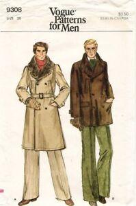 1970's VTG VOGUE Men's Coat Pattern 9308 Size 38 UNCUT