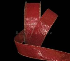 5 Yards Christmas Red Gold Metallic 2 Tone Mirage Color Changing Wired Ribbon 1