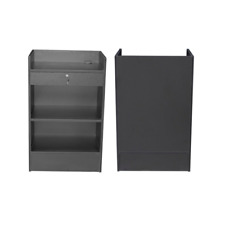 Black Wood Veneer Register Check Out Stand With Pull Out Drawer And Lock