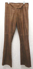 Women's Caché Brown Shimmer Suede Pants Mid-Rise Flare Leg Size 0