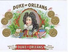 Duke of Orleans Wallis & Co New Orleans LA RARE   original  cigar box label