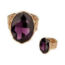 Gold Tone Purple Oval Stretch Ring