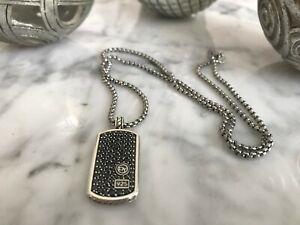 David Yurman Men's Silver Pave Black Diamond Pendant Dog Tag w/26in DY Necklace.