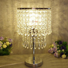 2 Tier Chandelier Crystal Bedside Table Cafe Lamp Stainless Steel Base Round