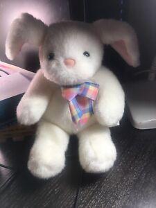 "Vintage HALLMARK Plush 10"" White Easter Bunny Rabbit Plaid Ribbon EUC"