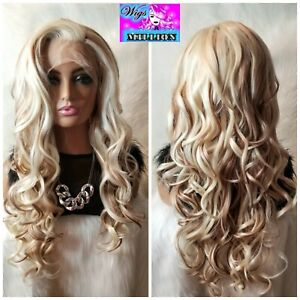 """Christina Aguilera"""" Gold Blonde Ombre Synthetic Lace Front Wig, Heat Resistant 2"""