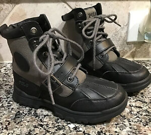 POLO RALPH LAUREN  Kids Colbey Boot Sz. 1.5 M Youth/Lil Kid Black & Green NEW