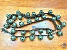 ANTIQUE 6' HORSE JINGLE BELLS SLEIGH BELLS - 30 BELLS ON LEATHER STRAP W/ BUCKLE