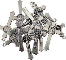 LOT SET 50 St Saint Benedict Rosary Crucifix Cross Silver Tone Plated 1.45 inc