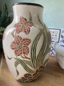 Antique Studio Pottery Floral Vase - Moorcroft / Doulton Lambeth Style 1920's