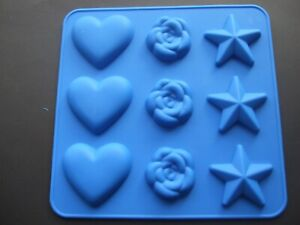 Silicone Mould Heart,Star And Rose -Chocolate,Sweets,Ice,Wax Melts, Sugar Paste