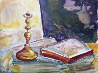 Dipinto a Olio Natura Morta Supporto Candela Libro Retro Brocca Mela 40 x 30 CM
