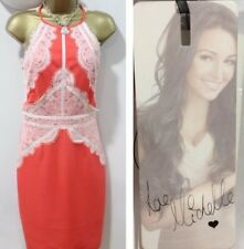 Lipsy Michelle Keegan Pencil Dress 18 Coral Orange Lace High Neck Summer Wedding