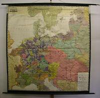 Schulwandkarte Wandkarte Schulkarte Deutschland Ritter 1273-1437 192x203cm ~1952