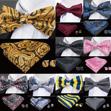 50 Pattern Mens Pre-tied Bow tie Set Silk Red Blue Black Paisley Solid BowTie