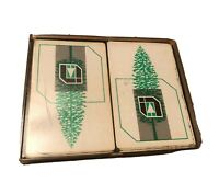 Vintage Inland Container Corp. Playing Cards Plastic Case Lot 2 Decks Pine Tree