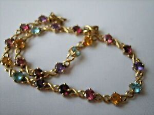 A Spectacular 9ct Gold Bracelet Set With 22 Precious Stones. 4.1g