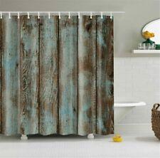 Blue Brown Rustic Wood Plank Art Farmhouse Fabric Shower Curtain