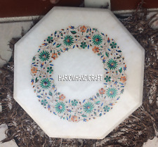 Gorgeous Marble Coffee Centre Table Top Floral Malachite Inlaid Room Decor H5377