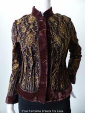 CONTONY Size 8 US 4 EU 36 Velvet and Lace Long Sleeve Brown and Gold Jacket